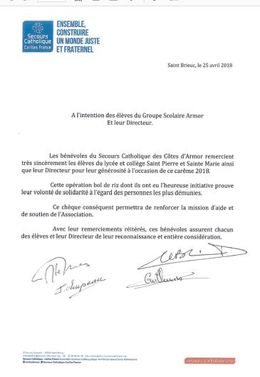 REMERCIEMENTS DES BÉNÉVOLES DU SECOURS CATHOLIQUE 0